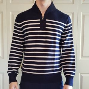 Banana Republic Blue/White Stripe Quarter Zip